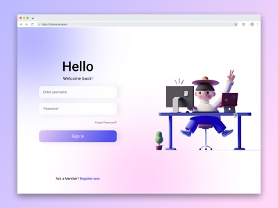 Login Screen UI login screen vector typography ui illustration ux