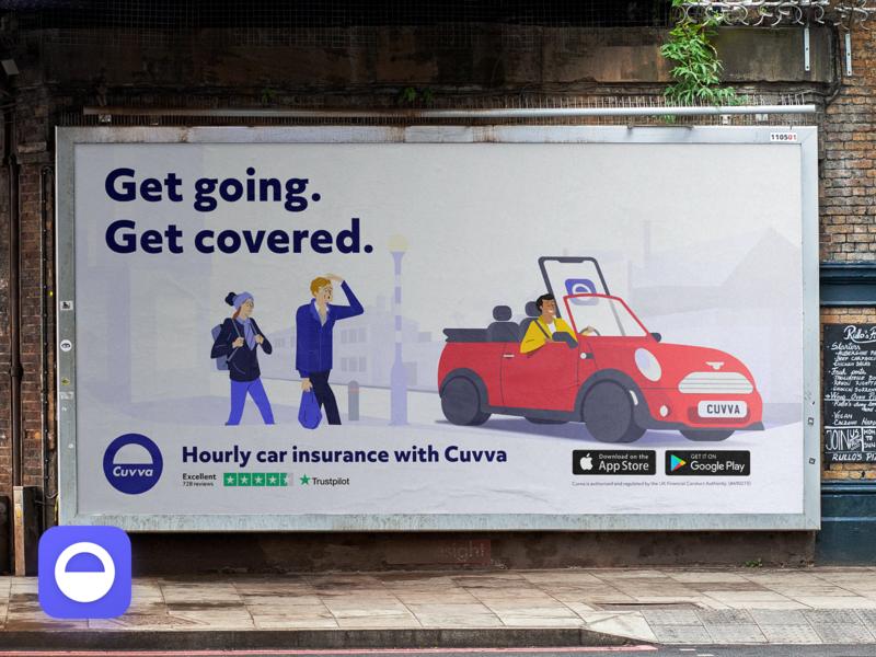 Get going. Get covered. Billboard london advertisment advertising branding fun insurance app design illustration
