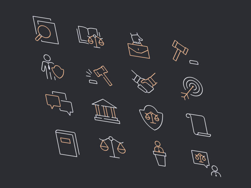 Iconography | Justicia - Law Firm & Attorney Webflow Template advocate law firm legal adviser justice legal law lawyers attorneys lawyer attorney icon pack icon system icon design icon app symbols icon set iconography icons icon webflow