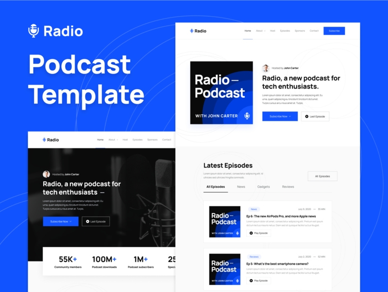 Presentation | Radio - Podcast Webflow Template home web landing webdesign website homepage landingpage landing page web design audio podcasts radio music player apple music spotify streaming podcaster podcast