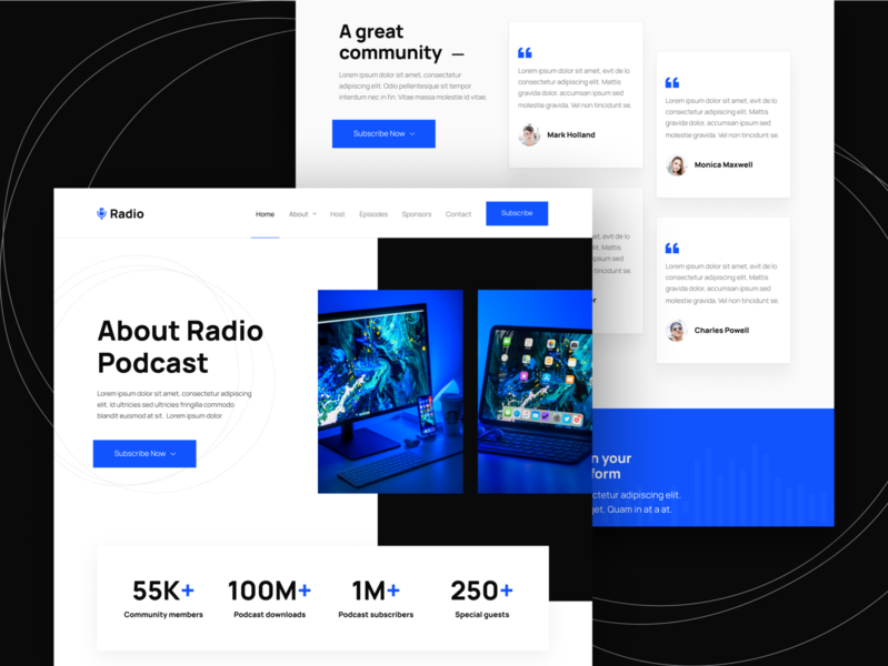 About Page | Radio - Podcast & Podcaster Webflow Template home web landing webdesign website homepage landingpage landing page web design audio podcasts radio music player apple music spotify streaming podcaster podcast