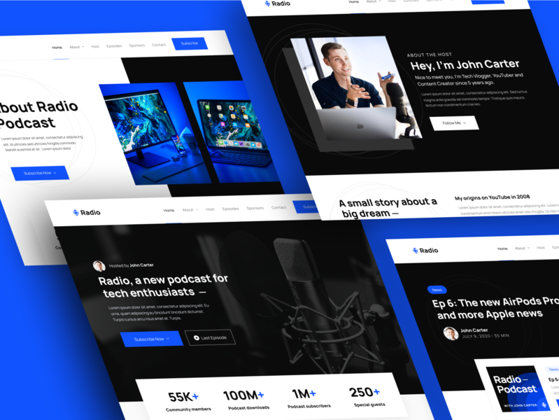 Pages | Radio - Podcast Webflow Template home web landing webdesign website homepage landingpage landing page web design audio podcasts radio music player apple music spotify streaming podcaster podcast