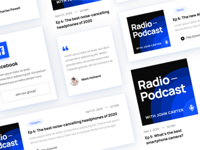 UI Elements | Radio - Podcast Webflow Template uiux cards user experience ux ux design ui design userinterface user interface ui audio podcasts radio music player apple music spotify streaming podcaster podcast