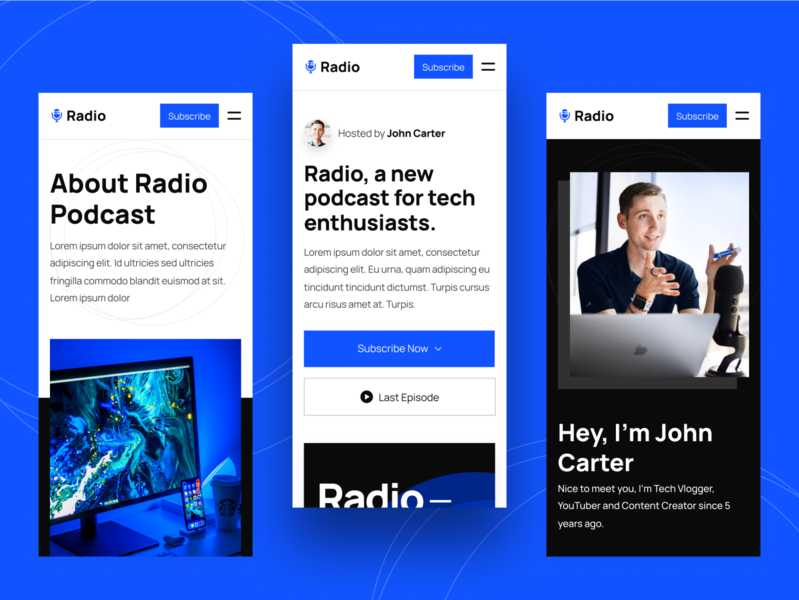 Mobile | Radio - Podcast Webflow Template mobile app mobile ui mobile design responsive design responsive mobile audio podcasts radio music player apple music spotify streaming podcaster podcast