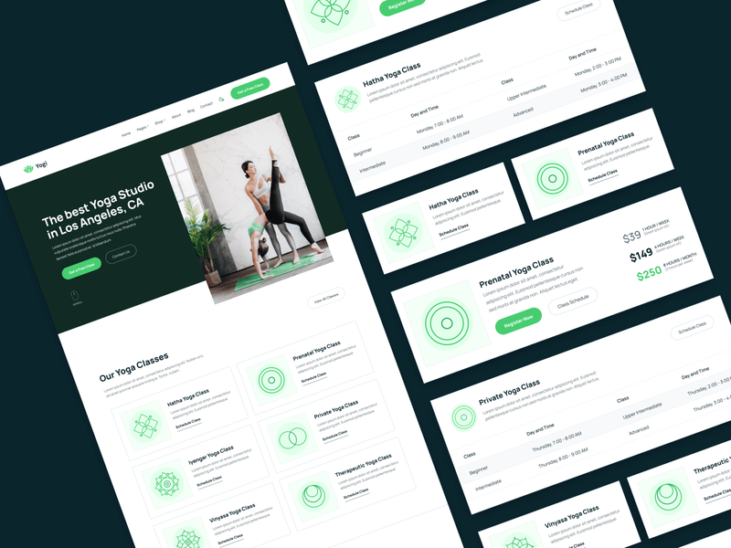 UI Elements | Yogi - Yoga Webflow Template uiux cards user experience ux ux design ui design userinterface user interface ui webflow coach plant plants green health gym wellness fitness yoga