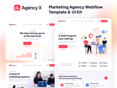 Presentation - Agency X | Marketing Agency Webflow Template home template landing webdesign website homepage landingpage landing page web design studio freelancer marketing agencies agency webflow