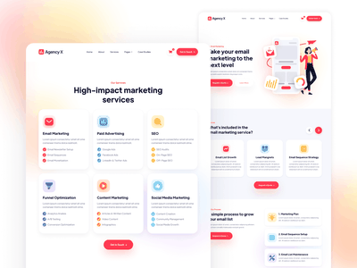 Services Pages - Agency X | Marketing Agency Webflow Theme home template landing webdesign website homepage landingpage landing page web design studio freelancer marketing agencies agency webflow