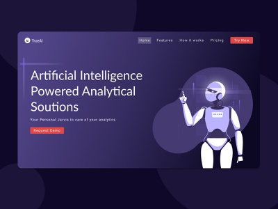 Analytics Solutions Landing Page technology ai artificial intelligence ux vector ui illustration branding minimal logo app uidesign design