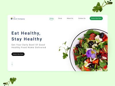 Healthy Food Bowls Company landing page website design good food healthy food fitness health food ui ux vector illustration branding minimal app logo uidesign design
