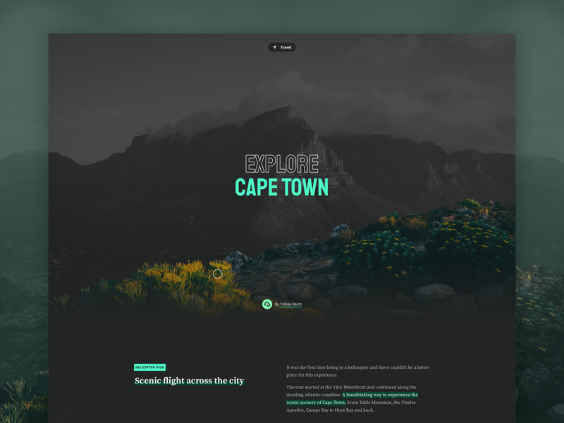 Explore Cape Town traveling journey blog visual hero photography explore travel typography website