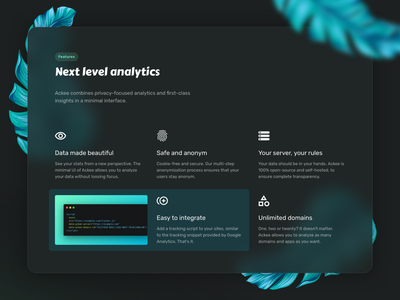Ackee — Next level analytics webapp app opensource analytics flowers green onepager features page icons section features minimal clean website
