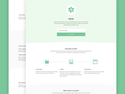 Rosid whitespace flat animation website page green minimal static clean site