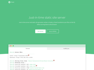 Rosid v2 whitespace website static site page minimal green flat clean animation