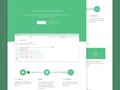 Rosid v2 animation clean flat green minimal page site static website whitespace