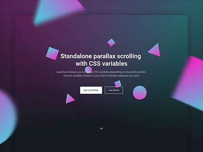 basicScroll js css parallax header hero bold gradient scroll animation website