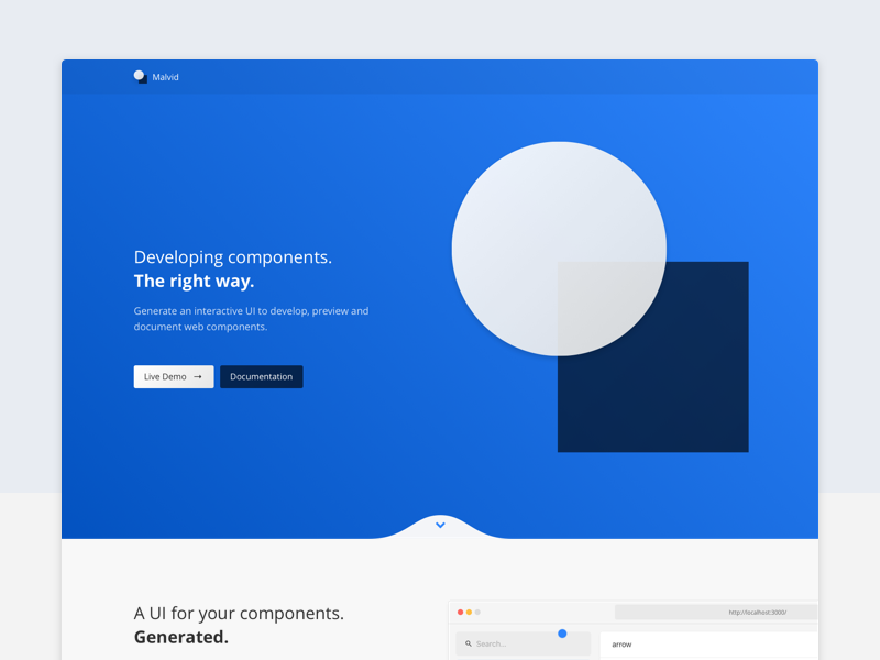 Malvid product header hero landingpage tool shapes minimal clean website components