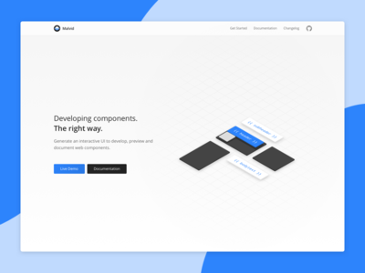 Malvid v2 components website clean minimal shapes tool landingpage hero header product