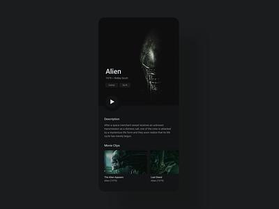 Daily UI 25 - TV App webdesign app cinema film movies aliens movie app movie xenomorph alien dailyui ux ui challenge ui