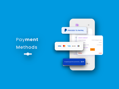 Payment Methods design bank minimal mobile app user payment socialmedia followers