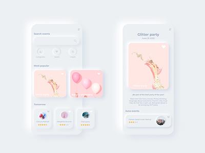 Neomorphic events app events event app ui app ui app ui design app design pastel colors white ui neomorphic neomorphism