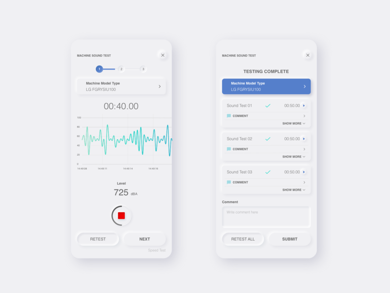 Sound Testing App | Neurmophic Concept shadow rounded apple mobile uiux clean ui vector minimal design ux ui neumorphism app