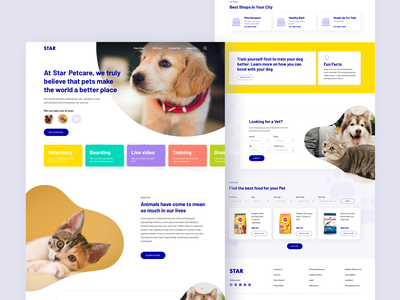 Pet Care Website UI Design Concept petcare cat dog pet sketch website web typography stock clean ui ux ui design
