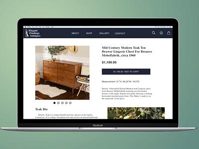 Elegant Findings Antiques Website shop design art thrift thrifting webdesign web ux ui antiques