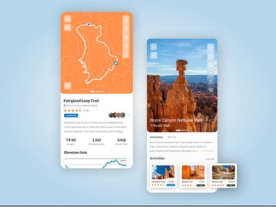 Happy Camper App Concept bryce canyon map roadtrip utah app design illustration ux ui hiking camping