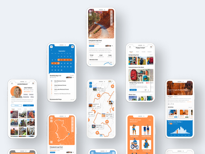 Happy Camper Screens illustration hiking app camping ux ui