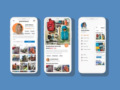 Happy Camper Renting Gear App menu design menu profile page rental app rentals rent shopping shop climbing hiking camping design ux ui