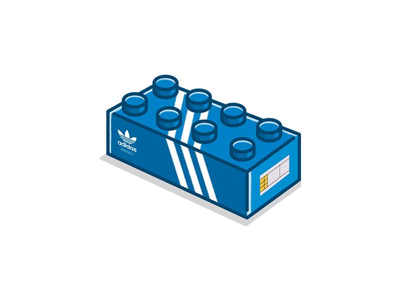 A Combination Of Lego Brick And An Adidas Originals Sneaker Box