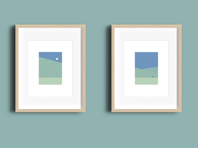 Running diptych vector sports illustration minimal green trees landscape runner running run
