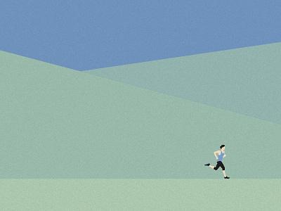 Runner diptych detail vector sports illustration minimal green trees landscape runner running run
