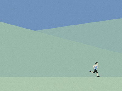 Runner diptych detail vector sports illustration minimal green trees landscape runner running run