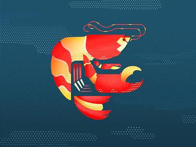 Pistol Shrimp red yellow blue textured creatures sea ocean wildlife dots pistol shrimp animal grain texture flat vector design illustration