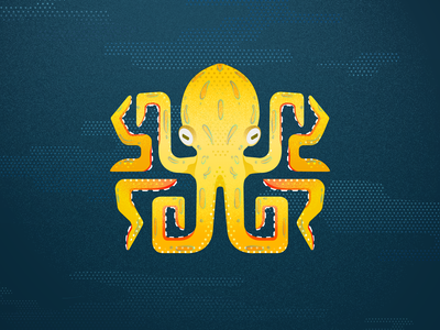 Blue Ringed Octopus illustrator poisonous yellow pattern gradient flat design vector octopus texture sea ocean illustration grain flat dots design creatures blue animal