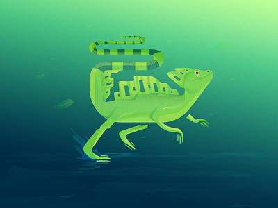 Green Basilisk AKA Jesus Christ Lizard running jesus christ lizard reptile lizard nature water green blue texture gradient vector pattern dots design grain flat illustration creatures animal