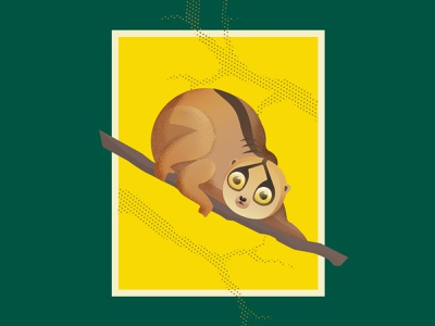 Slow Loris dots gradient flat grain noise vector fauna texture halftone grenn yellow animal loris slowloris