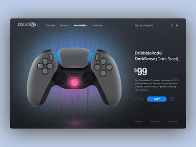 DarkSense Landing Concept product page landing page game illustraion dualshock gamepad concept web design web uxui ux design ui design uxdesign uidesign ux ui minimal flat design branding