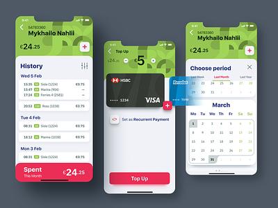 History screen top up list credit card payment calendar ios app figma color flow ux design uiux mobile design mobile app mobile ui mobile green ux interface ui design
