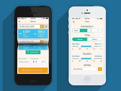Ticket App app clean design ios iphone flat filter ui interface navigation simple travel