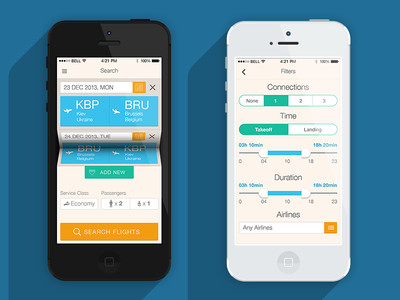 Ticket App app clean design ios iphone flat filter ui interface navigation simple travel