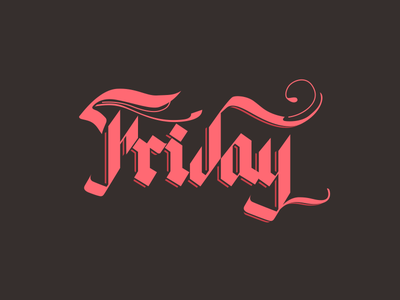 Friday friday red pink lettering typography letter beer brown
