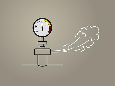 Steam white gray lineart manometer illustration pressure valve steam