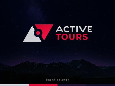 Active Tours Logo travel design logotype red typography branding vector logo color blue