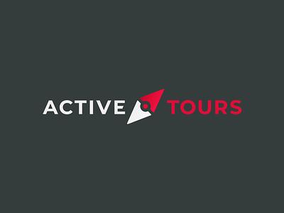 Active Tours Logo compass branding brand logotype travel red gray vector logo design color