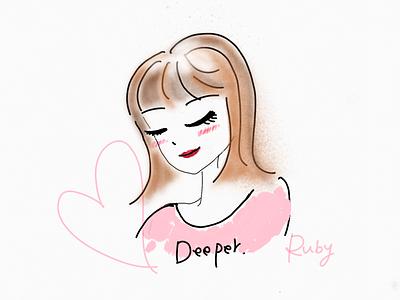 Ruby look down illustration design makeup