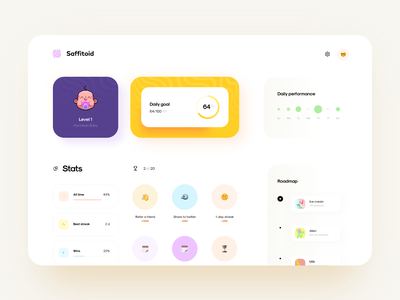 Child's Progress Dashboard coach time progress badge goal daily parent child dashboard web design illustration app graphics icons ux ui cuberto