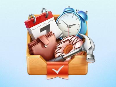 Tasksbox Mac OS icon cuberto icons illustration tasks mac os tick metal bookmark wood hammer calendar alarm clock app application box donut purse wallet ribbon graphics design texture