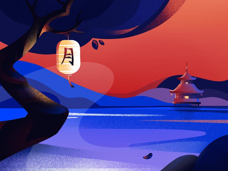 Morning Illustration tree japanese lamp house morning japan illustration app graphics icons ux ui cuberto